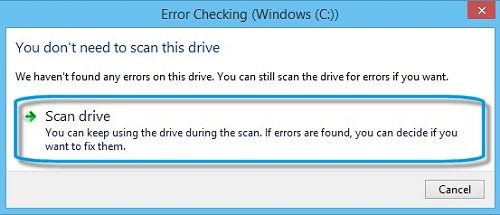 Error Checking window with Scan drive highlighted