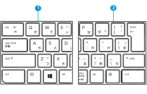 Japanese keyboard detail left and right