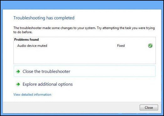 Image of the Troubleshooting completed window.