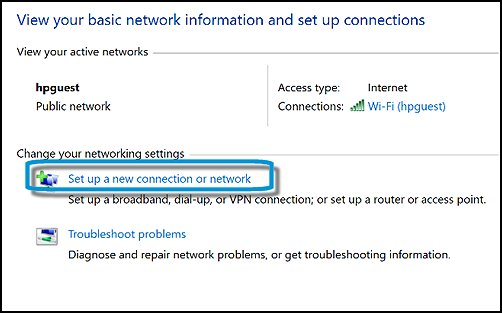 View your basic network information with Set up a new connection or network selected