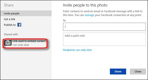 The Link used to embed content option in OneDrive