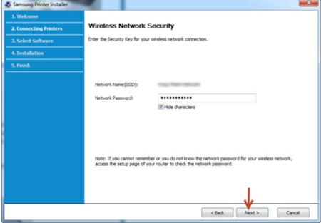 Image shows the wireless network security window