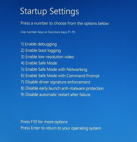Startup Settings screen showing the various startup options