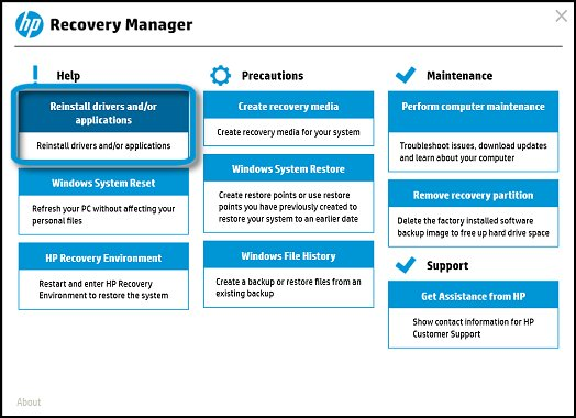 Reinstall drivers and/or applications in the HP Recovery Manager menu