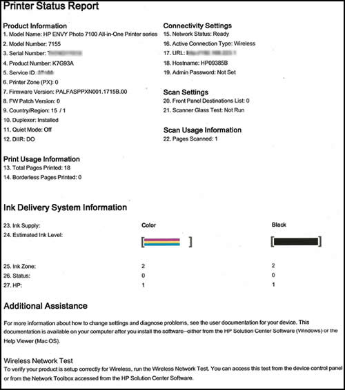 Example of a Printer Status Report