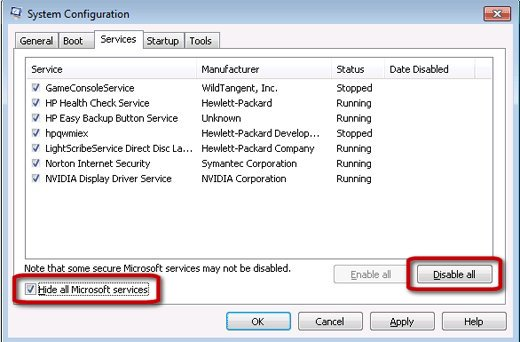 System Configuration Services tab window