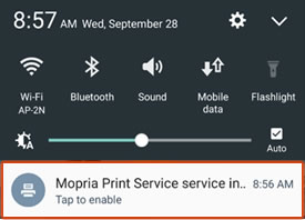 Tapping to enable the Mopria Print Service plugin