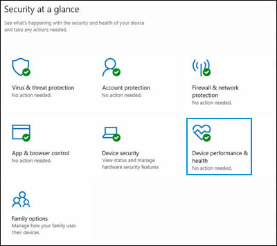 Windows Security home screen with Device performance and health highlighted