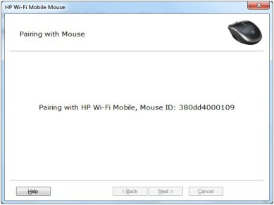 Image of the pairing screen - mouse pairing with computer.