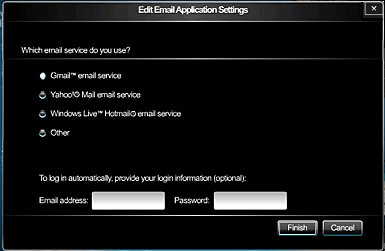 Image of the E-mail application screen.