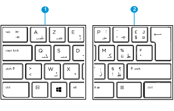 Arabic-French keyboard detail left and right