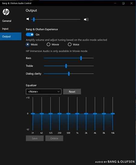 Output settings for music  mode