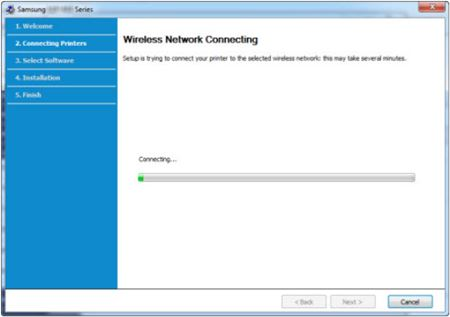 Image shows progress bar for network connection