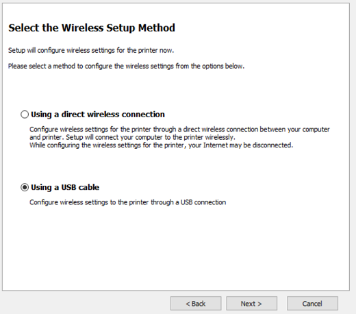 Image shows selecting Using a USB cable for wireless setup methods