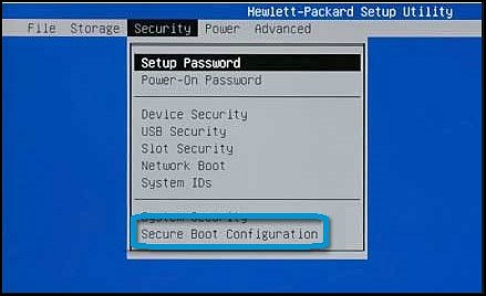 "Menü ""Security"" (Sicherheit) mit ausgewählter Option ""Secure Boot Configuration"" (Secure-Boot-Konfiguration)"