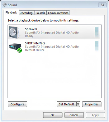 Selecting Speakers as the default device