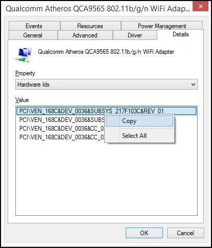 Details tab in Device Manager