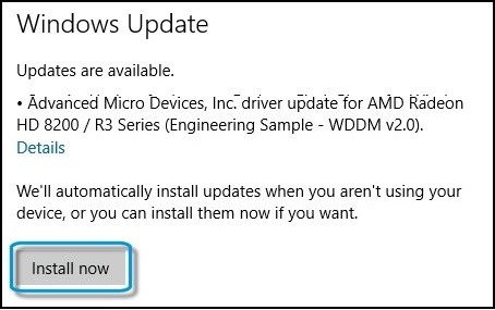Updates are available, click Install now