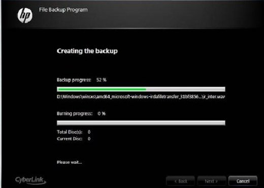 Creating the backup