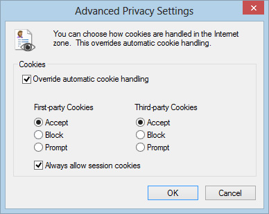 Advanced Privacy Settings window