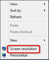 Image of the screen resolution option.