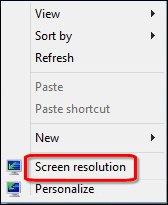 Imagem da opção de resolução de tela.