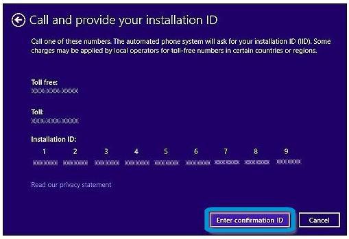Pantalla Llama y proporciona tu identificador de instalación, con el botón Escribir id. de confirmación resaltado en azul
