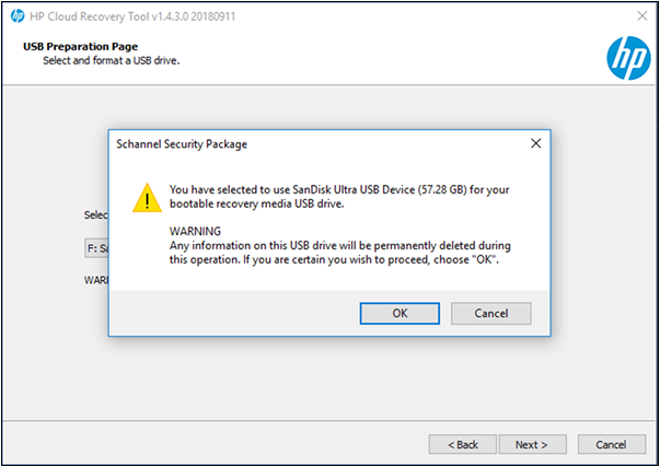 Notification that USB content is deleted during the process