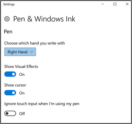 Pen settings options on the Pen & Windows Ink Settings window