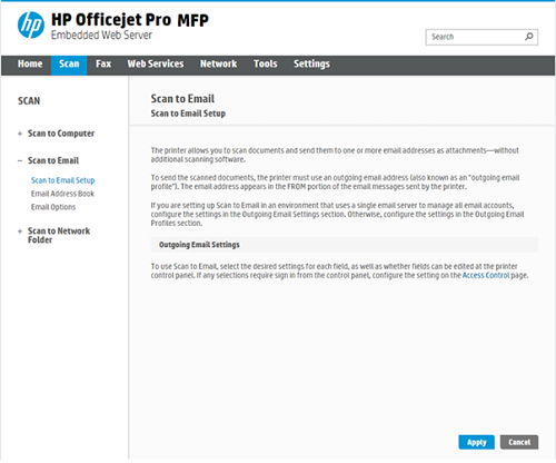 HP Officejet Pro X series - Set up Scan to Email through the