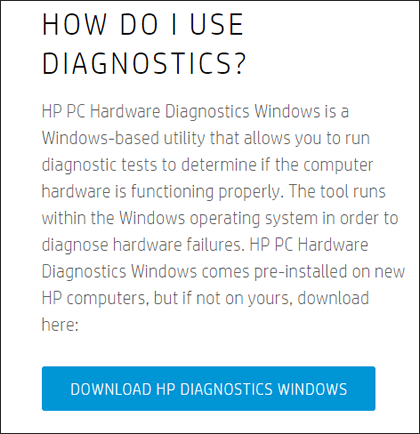 Descarga de diagnósticos de hardware para Windows