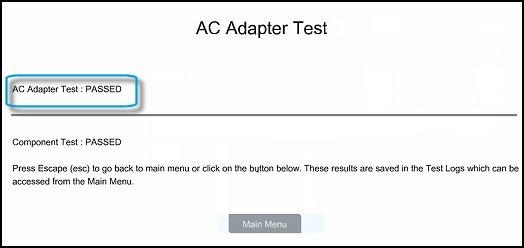 Ejemplo de resultados de la Prueba de adaptador de CA