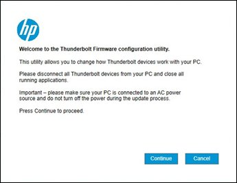 Image of the Thunderbolt Configuration Utility welcome screen