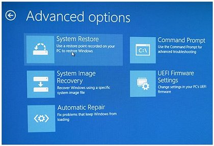 Advanced options: System Restore