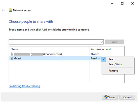 Select the permission level for each user or group