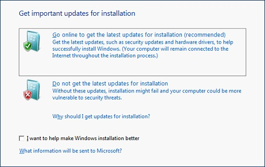Get important updates for installation screen