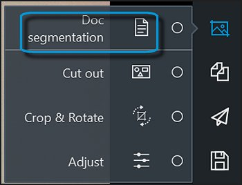 Edit with Doc segmentation selected