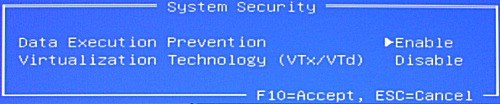 System Security screen