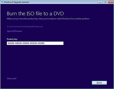 Burning the ISO file to a DVD with the product key