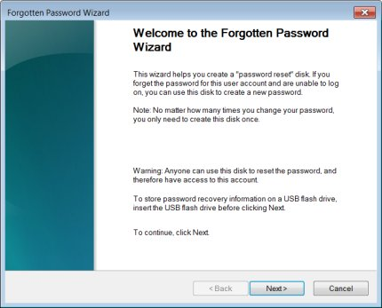 Welcome to the Forgotten Password Wizard window