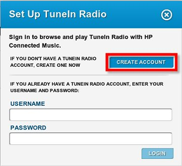 Image of the Set Up TuneIn Radio window with Create Account selected