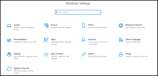 Windows Settings app categories