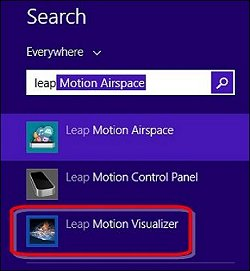Leap Motion Visualizer on the Windows 8 Search screen