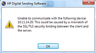 HP Digital Sending Software (DSS) - 'Unable to communicate   ' or