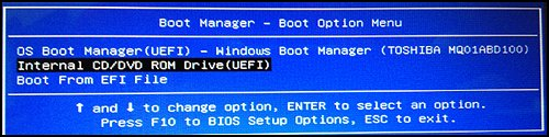 "Menü ""Boot Option"" (Startoption)"