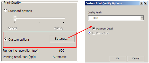 Hp designjet t120 and t520 eprinter series advanced print settings in the driver dialog mac os x print dialog select custom instead of standard print quality options then check the maximum detail box ccuart Images