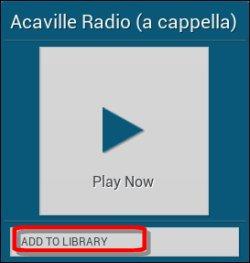 Estação de rádio adicionar à biblioteca