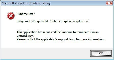 Runtime error message
