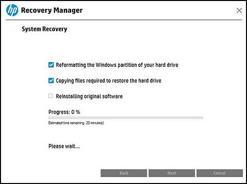 Preparing the computer for recovery