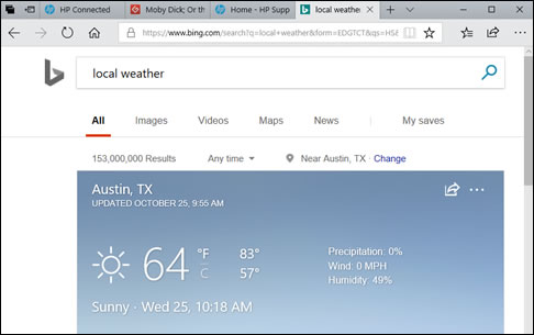 Example of Cortana displaying the local weather